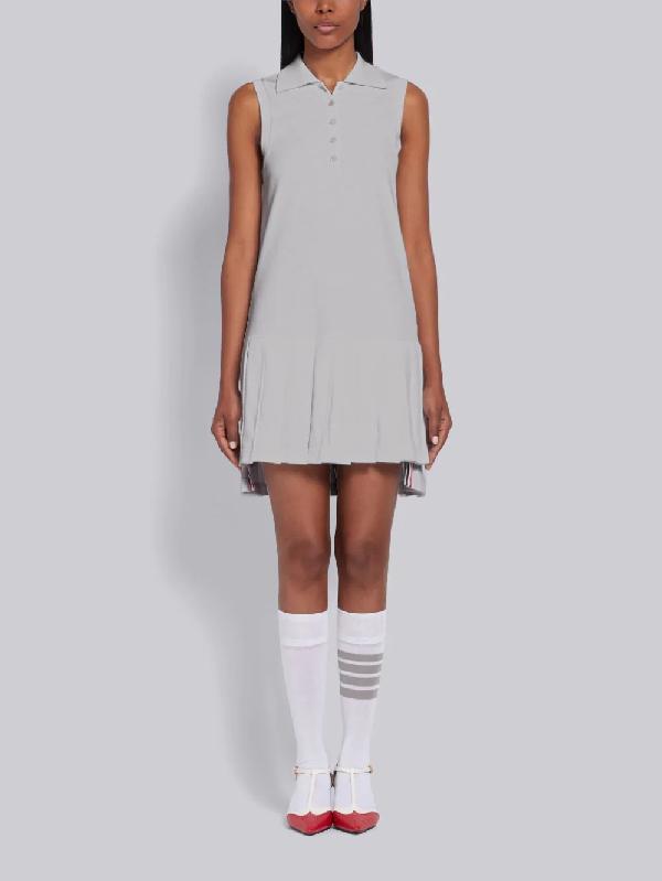 Thom Browne Light Grey Pique Center Back Rwb Stripe Sleeveless Pleated Tennis Dress In Gray
