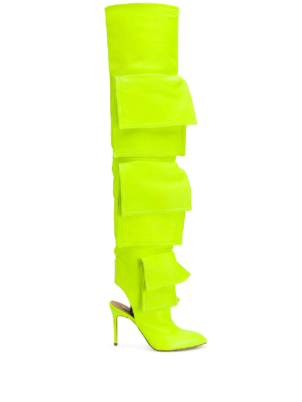 Natasha Zinko Pocket-detail Thigh-high 100mm Boots In Yellow