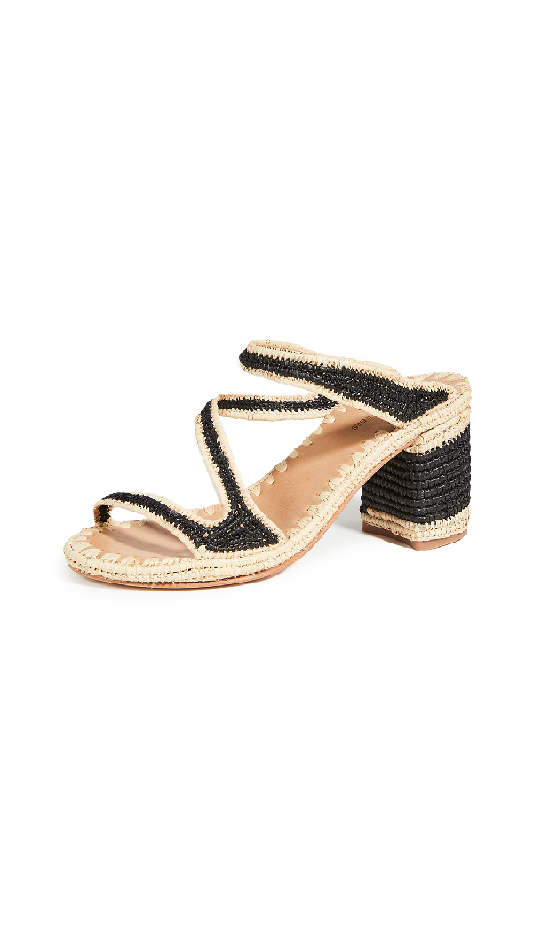 Carrie Forbes Salah Heeled Mules In Noir/natural Trim