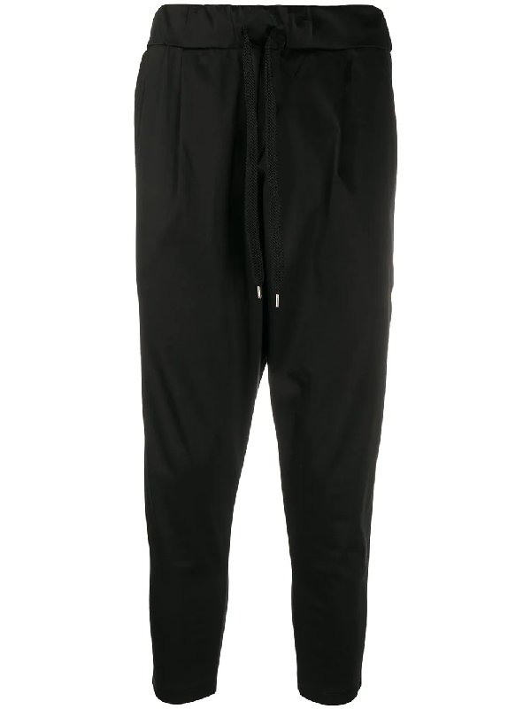 Family First Loose Cropped Chinos In Black