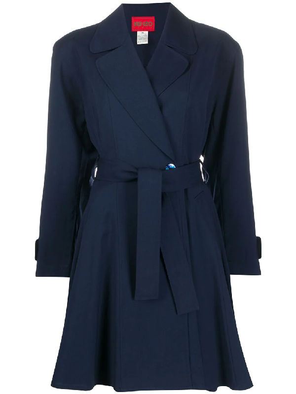 Kenzo Notched Lapel Coat In Blue