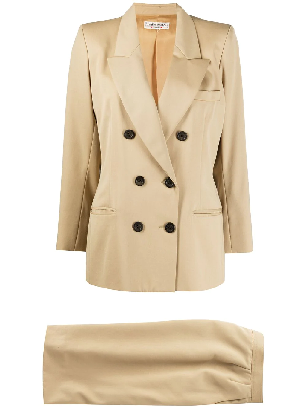 Saint Laurent Double-breasted Two-piece Suit In Neutrals