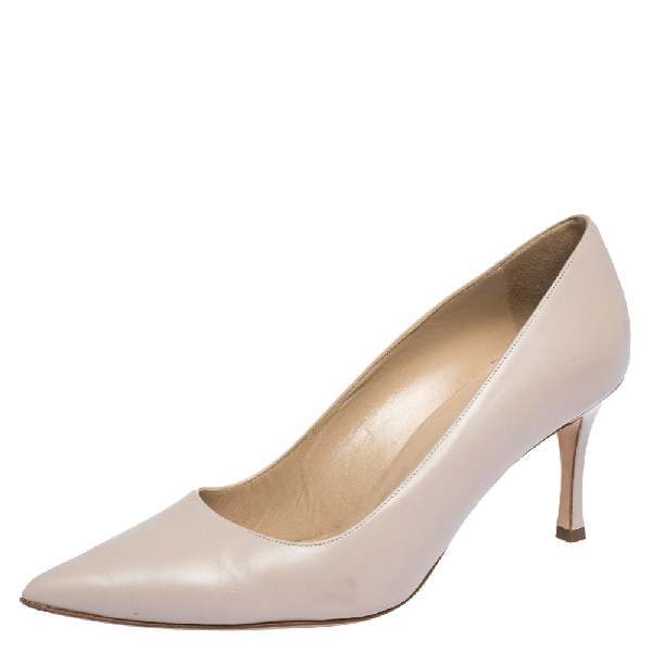 Manolo Blahnik Pale Pink Leather Bb Pointed Toe Pumps Size 39.5