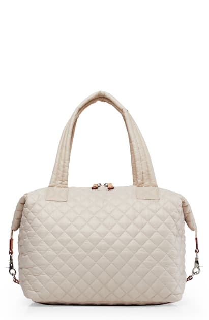 Mz Wallace 'large Sutton' Quilted Oxford Nylon Shoulder Tote In Mushroom
