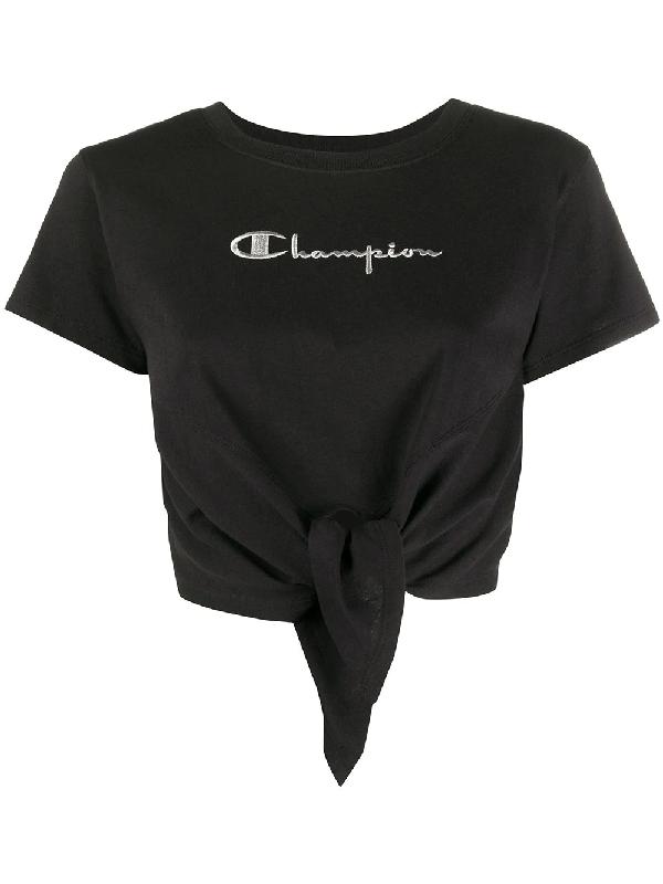 Chiara Ferragni X Champion Tie-front T-shirt In Black