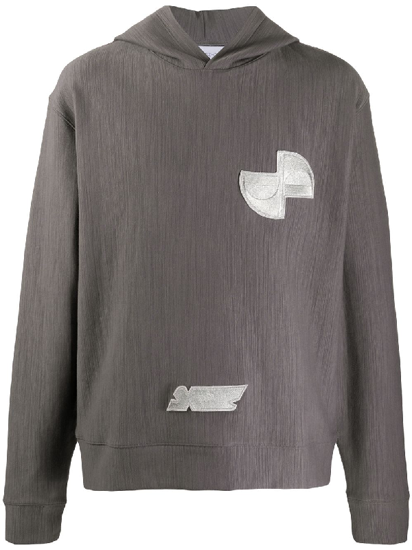 Xander Zhou Contrast Patch Hoodie In Grey
