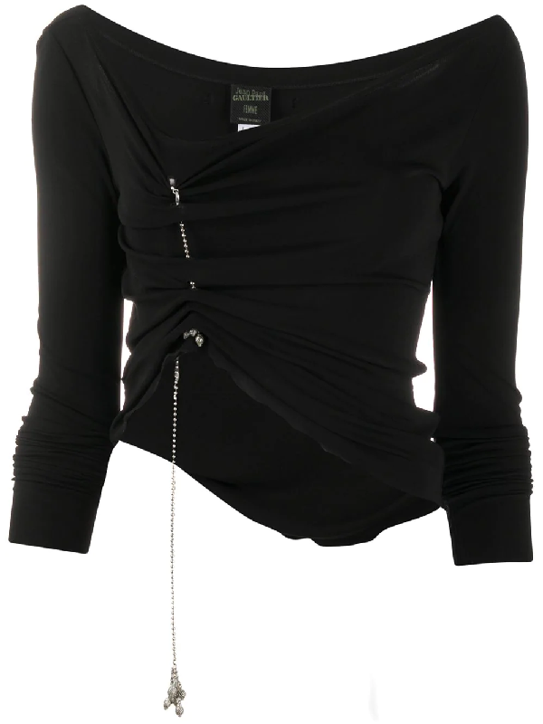 Jean Paul Gaultier Hanging Charm Gathered Blouse In Black