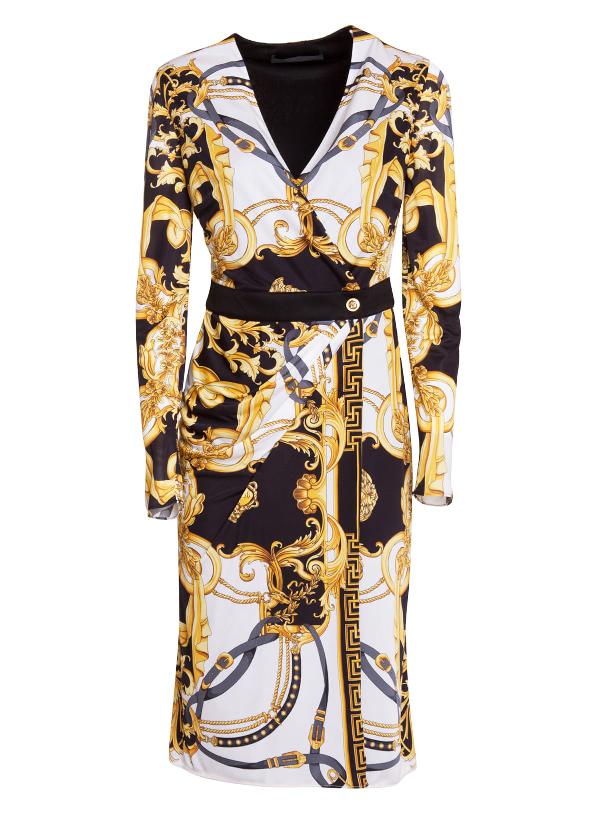 Versace Baroque Print Dress In White/gold/black