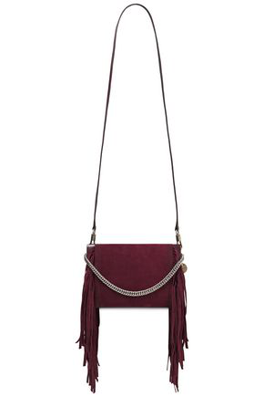 Givenchy Cross3 Fringed Suede And Pebbled-leather Shoulder Bag In Burgundy