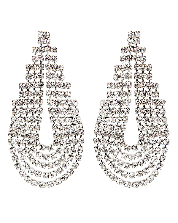 Elizabeth Cole West Crystal Statement Earrings In Clear