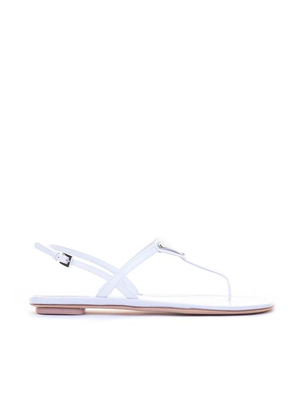 Prada Logo White Patent Leather Sandals