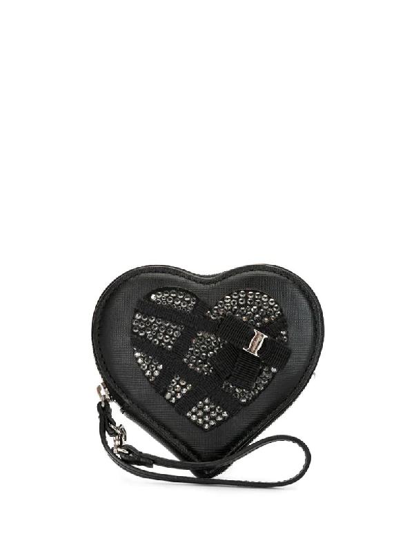 Salvatore Ferragamo Crystal-studded Heart-shape Purse In Black