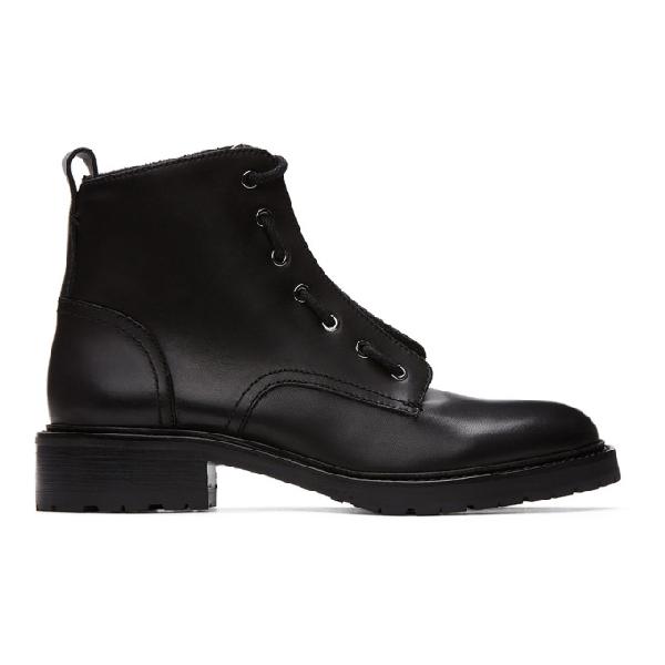 Rag & Bone Rag And Bone Leather Cannon Boots Colour: Black In 001 Black