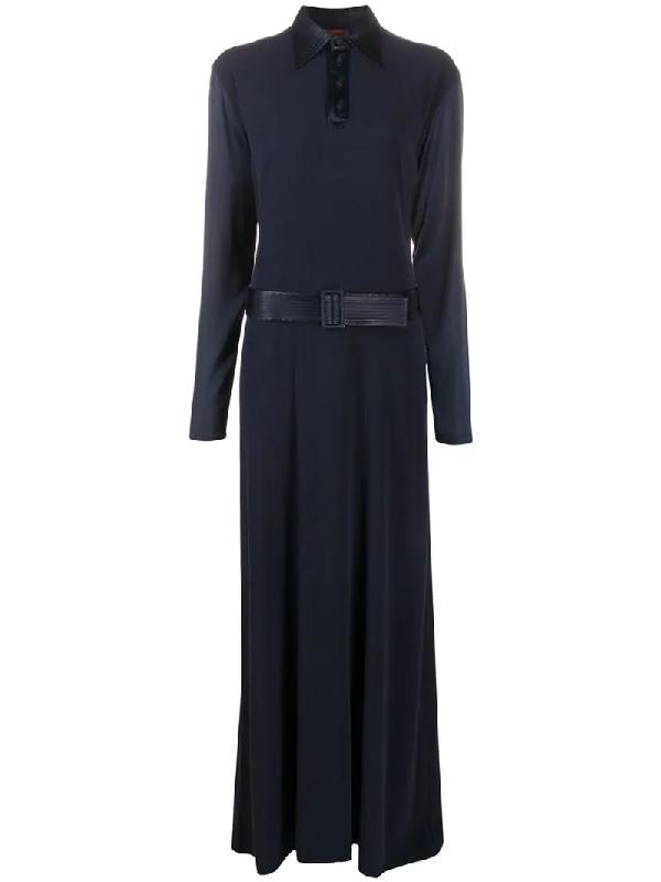 Jean Paul Gaultier Pre-owned Belted Maxi Dress In Blue