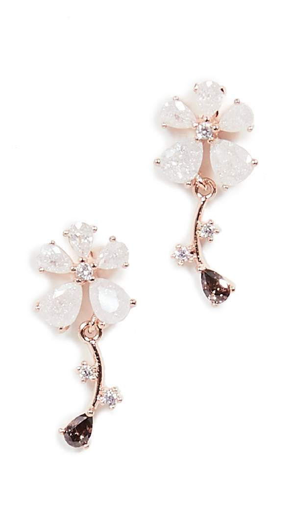 Theia Jewelry Gabriella Daisy Drop Earrings In Rose Gold