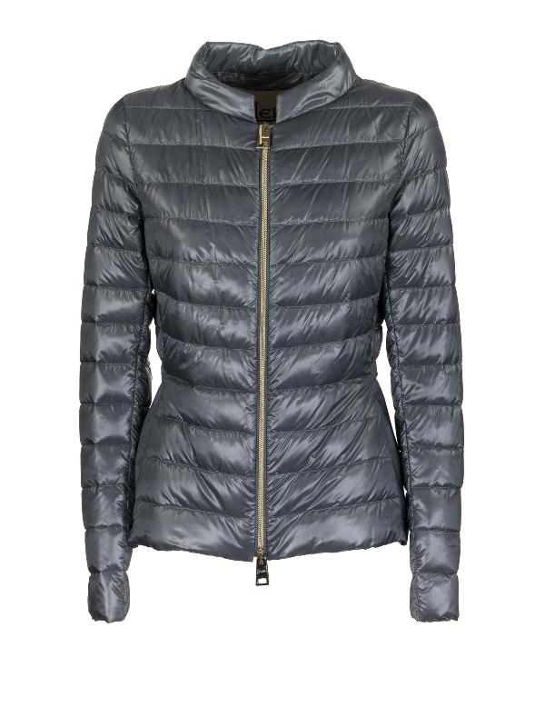 Herno Technical Taffeta Insert Down Jacket In Light Blue