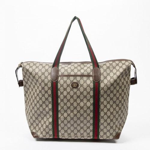 Gucci Boston Brown Cotton Travel Bag