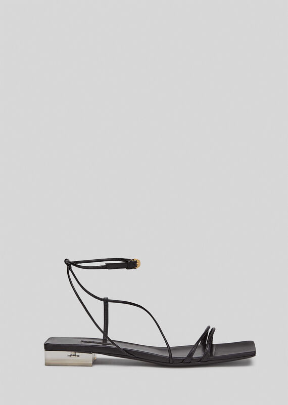 Versace Medusa Plexi Flat Sandals In Black