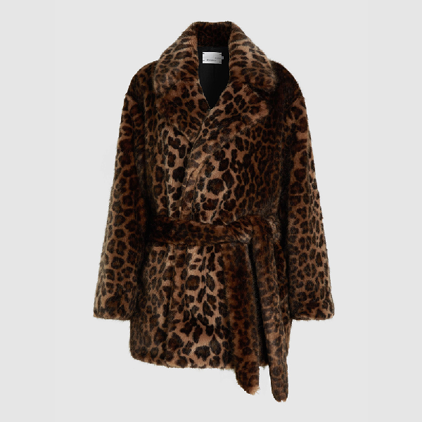 Bouguessa Animal Leopard Print Faux-fur Coat Size S/m In Brown