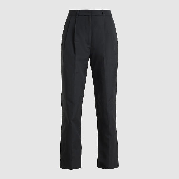 Bouguessa Black High-waisted Cropped Cotton Trousers Size L
