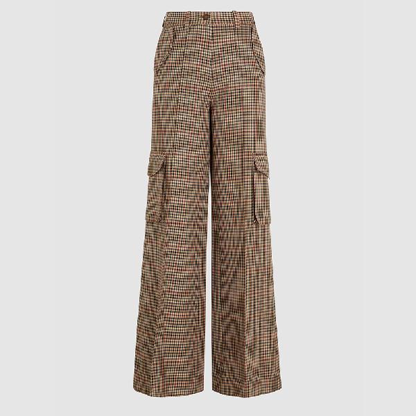 Bouguessa Brown Check Wide Leg Wool-blend Trousers Size L