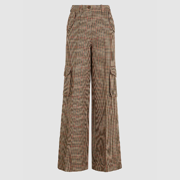 Bouguessa Brown Check Wide Leg Wool-blend Trousers Size M