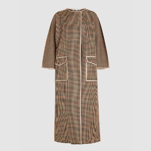 Bouguessa Brown Checked Cool-blend Coat Size S/m