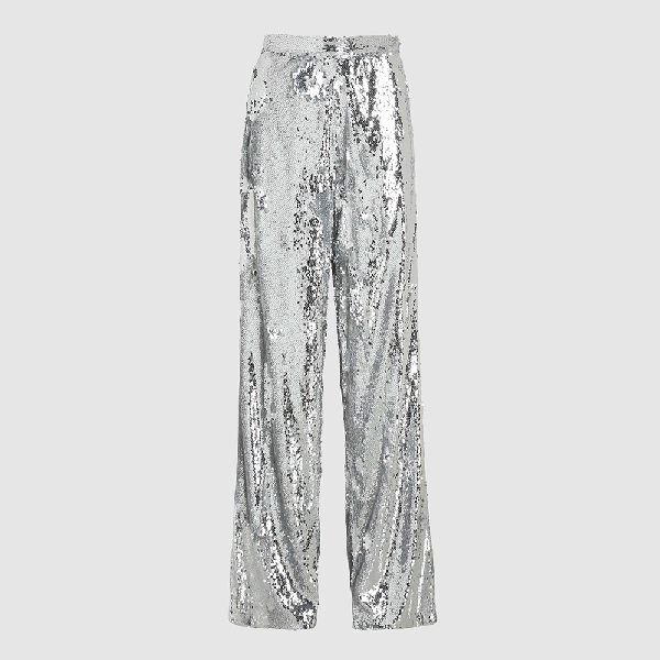 Bouguessa Metallic Wide Leg Allover Sequined Trousers Size S