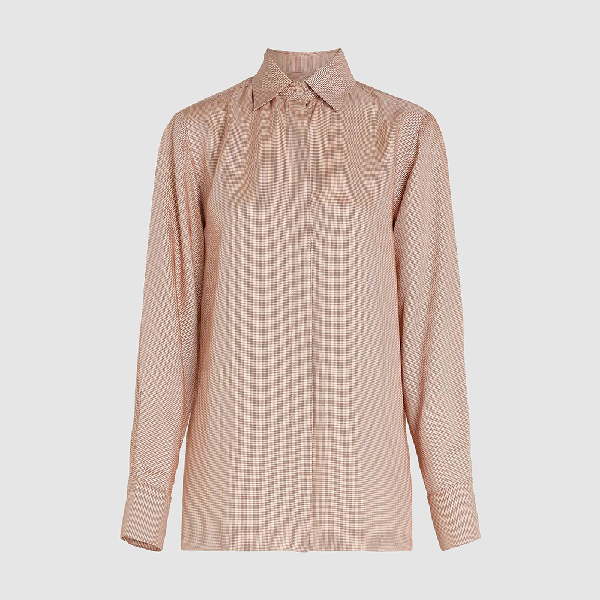 Bouguessa Pink Micro Houndstooth Long Sleeve Shirt Size M