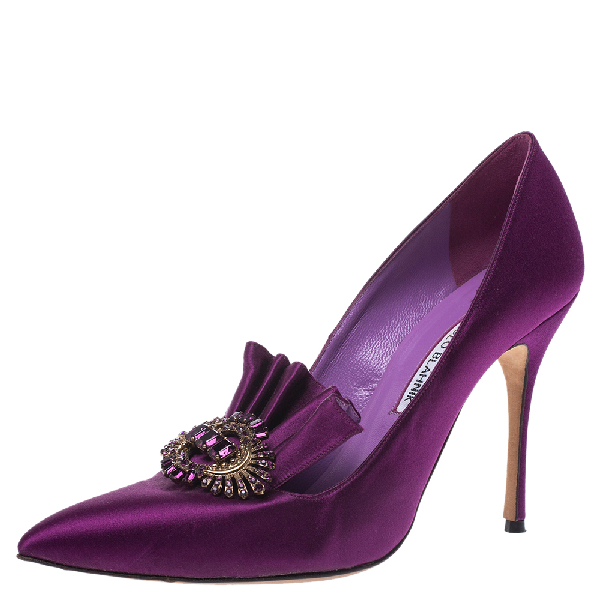 Manolo Blahnik Purple Satin Crystal Embellished Frill Detail Pumps Size 38