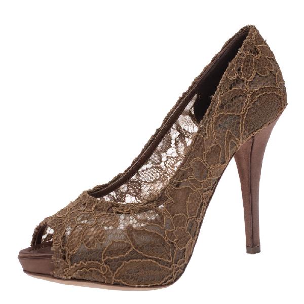 Dolce & Gabbana Brown Lace Peep Toe Platform Pumps Size 40