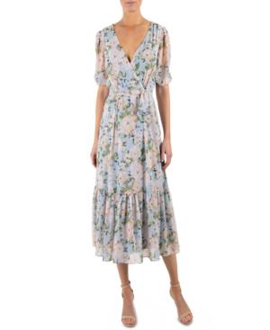 Julia Jordan Floral Wrap Front Ruffle Hem Dress In Blue/pink Floral