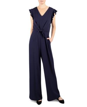 Julia Jordan Flutter-sleeve Jumpsuit In Navy Blue