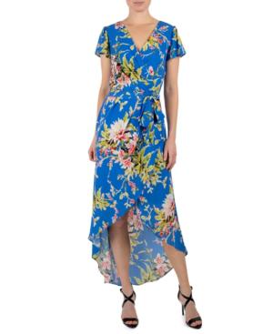 Julia Jordan High-low Faux-wrap Dress In Blue