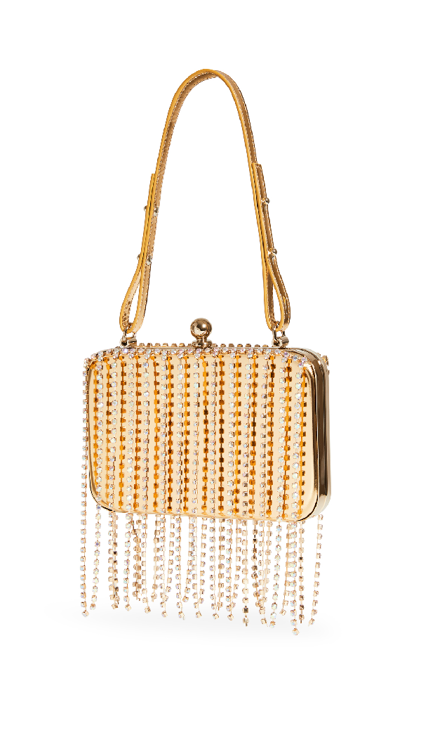 Area Crystal Fringe Phone Clutch In Gold