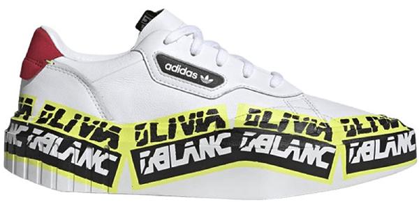 Adidas Originals Adidas Hypersleek Olivia Leblanc Construction Tape (w) In Cloud White/core Black/solar Yellow