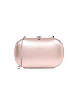 Jeffrey Levinson Elina Metal Clutch In Electric Blush Gloss