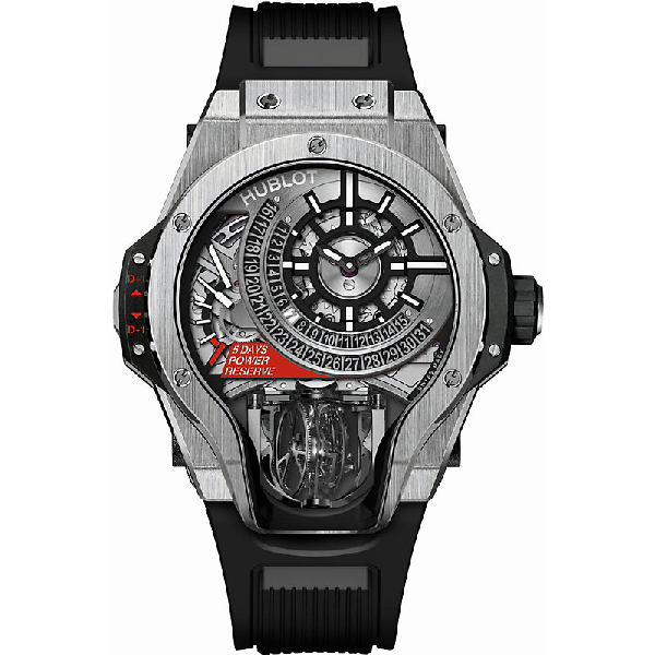 Hublot Tourbillon Bi-axis Titanium Watch In Black/silver