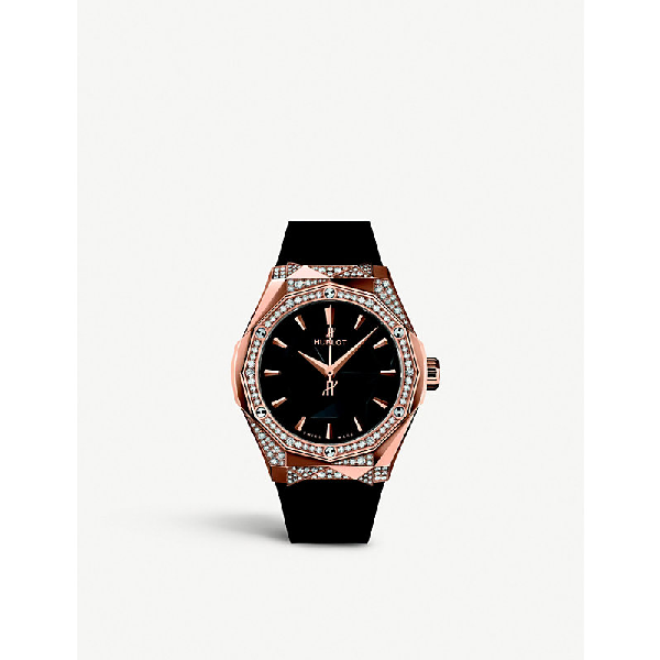 Hublot 550.os.1800.rx.1804.orl19 Classic Fusion Orlinski Alternative Pavé 18ct King Gold And Diamond Watch In Black And Gold