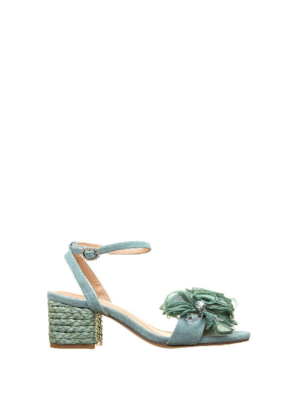 Alma En Pena Green Flower Sandals In Verde