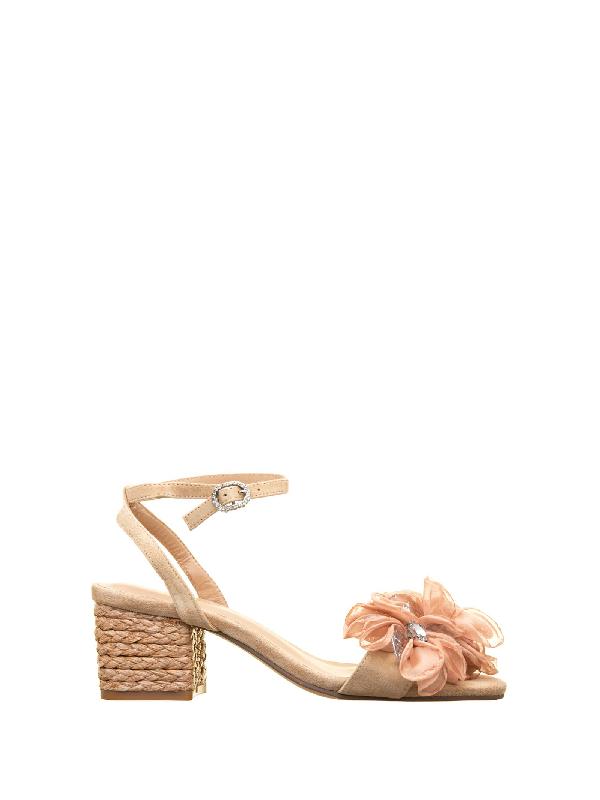 Alma En Pena Ballet Pink Flower Sandals In Cipria