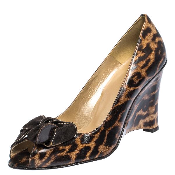 Stuart Weitzman Brown Leopard Print Leather Bow Embellished Peep Toe Wedge Pumps Size 41