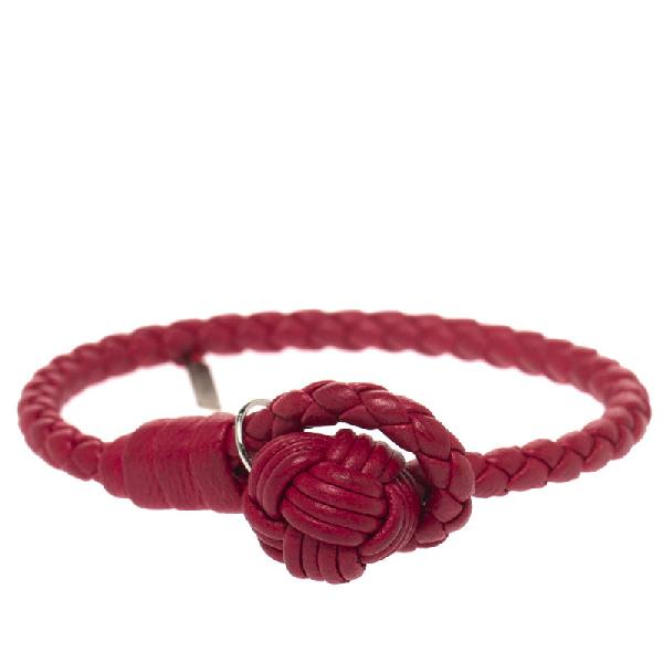 Bottega Veneta Pinkish Red Intrecciato Nappa Leather Toggle Bracelet S