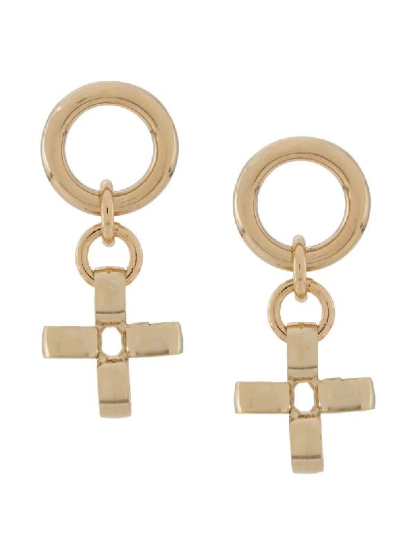 Laura Lombardi Fiore Cross Earrings In Gold