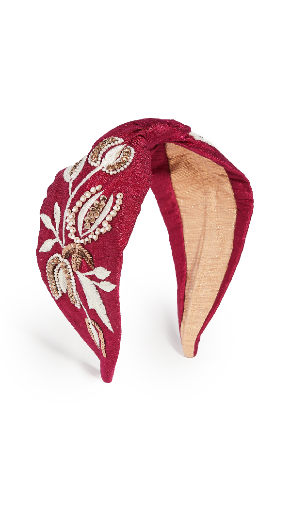 Namjosh Embroidered Headband In Hot Pink/ivory