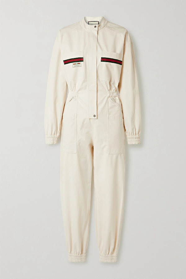 Gucci Web Stripe Embroidered Jumpsuit In Ivory