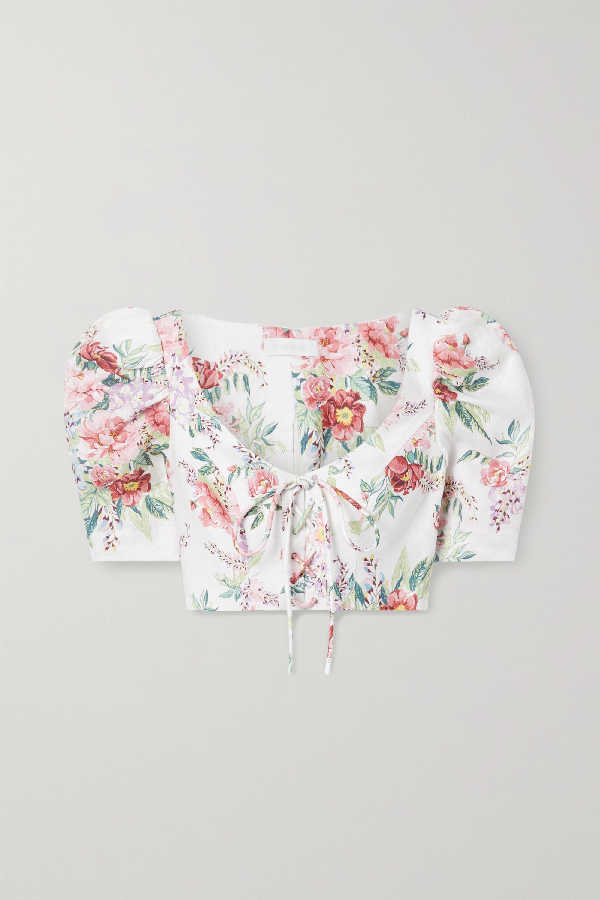 Bellitude Cropped Lace up Floral print Linen Top In Ivory