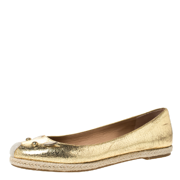 Marc By Marc Jacobs Gold Textured Leather Mouse Espadrille Flats Size 38.5