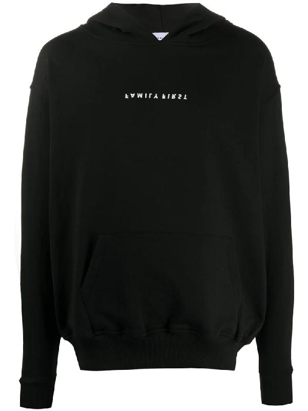 Family First Upside-down Logo Print Hoodie In Black