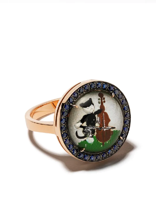Francesca Villa 18kt Gold Musical Cat Sapphire Ring In Crystal Blue Sapphires 027cts18kt Gold